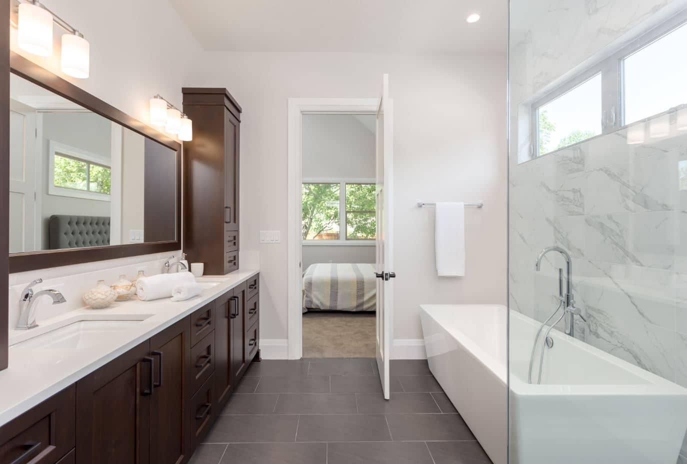 The interior of a master suite bathroom renovation